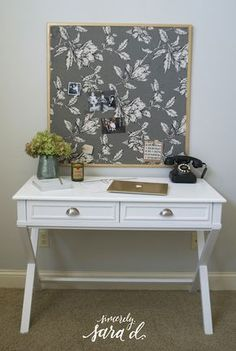 DIY fabric-covered corkboard bulletin board makeover