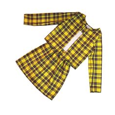97d5befd4f Chers yellow clueless tartan plaid yellow high waist skirt and open front  jacket Limited edition,