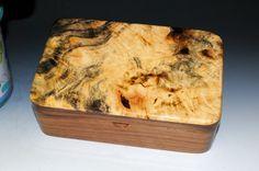 Buckeye Burl on Walnut Handmade Wooden Stash Box Custom Wooden Boxes, Buckeye Burl, Stash Jars, Barrel Hinges, Large Tray, Wood Boxes, Keepsake Boxes, Handmade Wooden