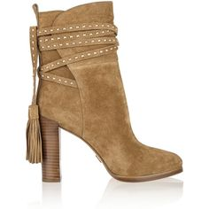 Michael Kors Collection Palmer tasseled suede ankle boots ($290) ❤ liked on Polyvore featuring shoes, boots, ankle booties, booties, heels, sapatos, suede ankle boots, high heel ankle boots, heeled booties and suede booties