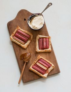 Rhubarb tarts with orange-honey fromage blanc.