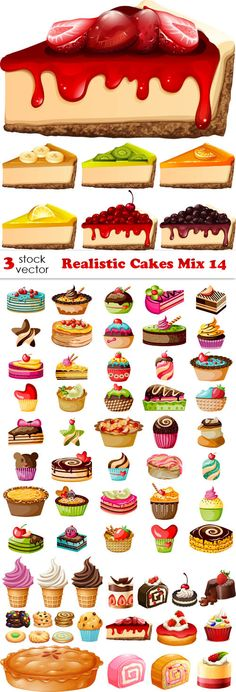 Vectors - Realistic Cakes Mix 14