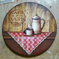 Decoupage Art, Decoupage Vintage, New Crafts, Diy And Crafts, Country Paintings, Recycled Pallets, Painting On Wood, Crochet Projects, Decorative Plates