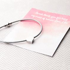 Our small heart bracelet is the perfect gift for a friend. The gift is complete with a hand stamped envelope and message printed on a pink watercoloured card. Heart Friendship Bracelets, Heart Bracelet, Small Heart, Hand Stamped, Envelope, Gifts For Her, Lily, Messages, Printed