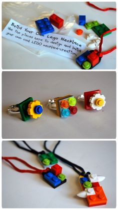 DIY Build Your Own LEGO Necklaces and Rings. Wonderful gifts or party favors.Tutorial and very detailed PDF Project Download Sheet from Chez Beeper Bebe here.*Like some I've seen on Etsy.