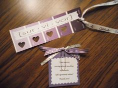 Relay For Life Survivor and Caregiver idea - make bookmarks from paint strips