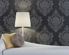 Planning...color scheme for the bedroom with a more moorish stencil pattend behind the white tufted headboard