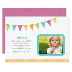 Girl's Photo Birthday Invitation | Party Banner
