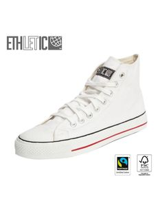 This shoe is made by Ethletic. Ethletic makes fair trade shoes from organic cotton and natural FSC certified sustainably harvested rubber. Bio Vegan, High Top Sneakers, Ethical Shopping, White Caps, Ethical Fashion, Converse Chuck Taylor, High Tops, Trainers, Sporty