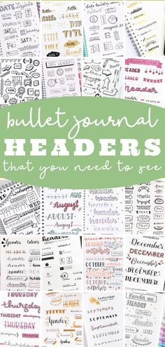 Bullet journal header and banner ideas that you need to try! Step by step doodle titles and subtitles that are SO cute and easy! Bullet Journal Headers And Banners, Bullet Journal Titles, Bullet Journal Banner, Bullet Journal Hacks, Bullet Journal Spread, Journal Pages, Bullet Journals, Journal Ideas, Calligraphy Alphabet Tutorial