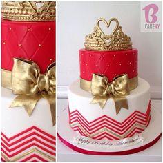 2 Tier Tiara Cake #chevron