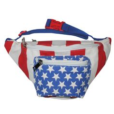 Tipsy Elves American Flag USA Fanny Pack with Drink Holder 80s Retro Clothing, Tipsy Elves, Waist Pack, Retro Outfits, Luggage Bags, Fanny Pack, American Flag, Packing, Monogram