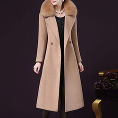 Women's Going out Fall / Winter Plus Size Maxi Coat, Solid Colored Long Sleeve Cashmere / Polyester Black / Wine / Fuchsia 2020 - TRY Maxi Coat, Coat Dress, Stylish Plus Size Clothing, Long Winter Coats, Plus Size Coats, Plus Size Maxi, Vintage Coat, Autumn Winter Fashion, Fall Winter