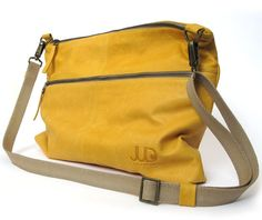 Mustard classic leather messenger bag shoulder bag by JUDtlv, $283.00