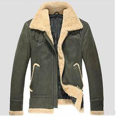 Army Green Lambskin Leather Fur Winter Warm Bomber Jackets Coats Men SKU-116166