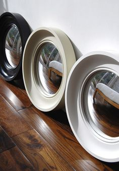 This mirror looks great arranged in multiples or hanging solo.
