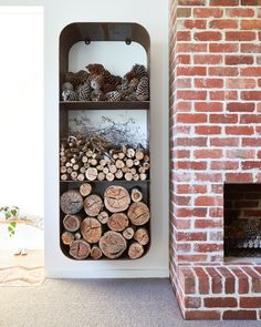 THE SQUARE STACK The wood stack for smaller areas. The slim lined version of our iconic round Wood Stacker, The Unearthed Square Stack is perfect for beside t Indoor Firewood Rack, Wood Burning Logs, Minimalist Fireplace, Galvanized Tub, Home Decoracion, Freestanding Fireplace, Wood Store, Wooden Sheds, Stove Fireplace