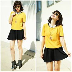 Amy Roiland - Yumi Direct Top, Jeffrey Campbell Boots, By Me For $20 Crystal, Woodzee Wooden Glasses - Yellow as the sun