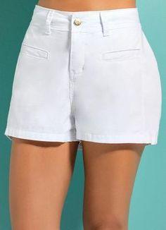 Sgarbi Store | Short em sarja Cute Shorts, Casual Shorts, Short Skirts, Short Dresses, Star Fashion, Fashion Outfits, Short Playsuit, Chor, Skirt Pants