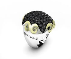 925 Sterling Silver Ring Yellow 18k. Gold Black Spinels. #bohemme #jewelry #glamour #ring #spinel #gold