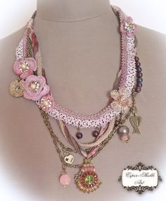 shabby chic soft braided necklace from antique by EsperShabbyArt