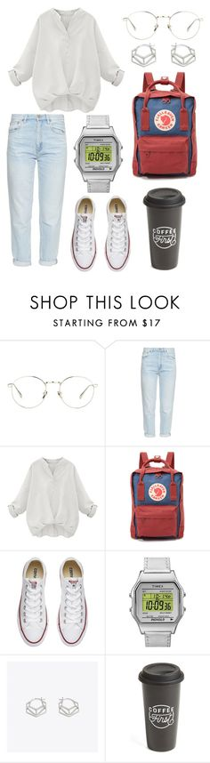 """""""silver tone college outfit"""" by indirag on Polyvore featuring Linda Farrow, M.i.h Jeans, Fjällräven, Converse, Timex, Otis Jaxon and The Created Co."""