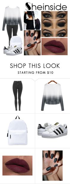 """She in"" by anasofiamoreira82 ❤ liked on Polyvore featuring Forever 21, adidas Originals, LORAC, women's clothing, women's fashion, women, female, woman, misses and juniors"