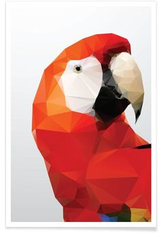 Geo Parrot Red als Premium Poster von Three Of The Possessed | JUNIQE
