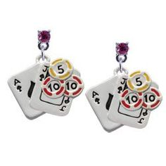 Amazon.com: Cards with Poker Chips Hot Pink Swarovski Post Charm Earrings: Arts, Crafts & Sewing