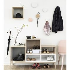 These Dots by muuto are still my favourite for outside the toilet above radiator. You can buy a set of 5 and if you need more buy singles here. Maybe we could have a box like this too?