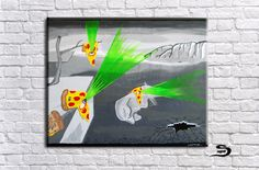 Dali pizza painting - The Persistence of Memory in illuminati eye pizza - Surreal art - fan art - home decor wall decor - surrealism by SnagglebitInkArt on Etsy