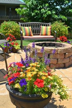 Patio Flowers --- love the colors here....!!!