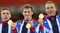 (From left to right) Philip Hindes, Jason Kenny, Sir Chris Hoy