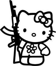 Cheap stickers duck, Buy Quality decals volkswagen directly from China stickers dragon Suppliers: Funny Hello Kitty Rifle Jdm Vinyl Sticker Decal For Car Truck Window Bumper Laptop Locker Glass Hello Kitty Gun, Hallo Kitty, Custom Decals, Vinyl Decals, Car Decals, Wall Decal, Hello Kitty Tattoos, Posca Art, Hello Kitty Wallpaper