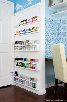 DIY Paint Storage Shelves - Office & Craft Room Makeover {Week Create the perfect DIY paint storage from scraps or cheap wood. The paint storage shelves can even be hung in closets or behind doors to free up even more space. Spray Paint Storage, Craft Paint Storage, Wood Storage, Diy Storage, Storage Shelves, Storage Ideas, Storage Solutions, Clothes Storage, Room Shelves
