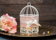 Holiday Gift Hanging Lanterns - Gift Idea - Shabby Silver Pink Wedding Wire Bird Cages - Metal Tealight Candle Holder - PROMO Set of 4