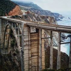 California's Highway Bixby Bridge in Big Sur reigning as one of the most spectacular. Longest single span bridge in USA! Places To Travel, Places To See, Places Around The World, Around The Worlds, Road Trip, Art Nouveau, Art Deco, California Dreamin', Big Sur