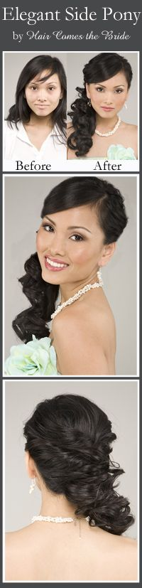 Before and After Bridal Hair and Makeup by Hair Comes the Bride ~ Curly Side Pony
