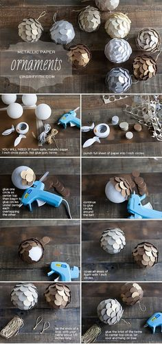 Elegant and very simple pine cone like balls from metallic paper for Christmas tree and holiday decor. Tutorial included.