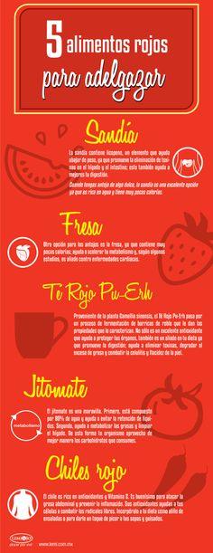 Infografía: 5 #alimentos rojos para #adelgazar. #salud y #belleza