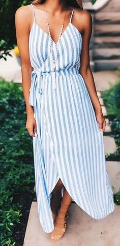 summer outfits Striped Maxi Dress