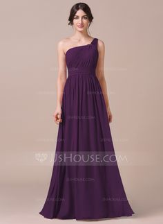 A-Line/Princess One-Shoulder Floor-Length Chiffon Bridesmaid Dress With Ruffle (007057740) - JJsHouse