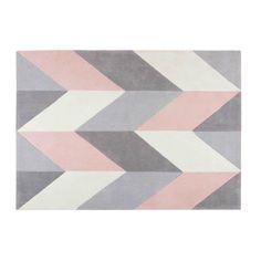 geometric motif fabric rug 140 x 200 cm | Maisons du Monde