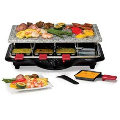 Create memorable meals or parties with the Velata Raclette Tabletop Grill. Borrowing a centuries-old Swiss tradition, the Velata Raclette is an easy-to-use appliance that allows you to cook delicious meals at the table.  The Velata Raclette Tabletop Grill includes 2 grill tops to give you the perfect surface to cook meats, fish, vegetables, or any grillable food. The 100% natural granite stone top triples as a pizza stone, a cold stone, and an elegant serving tray. And the ...