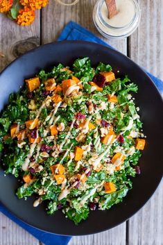 Fall Quinoa Salad with Kale, Sweet Potato & Maple Tahini Dressing! All the delicious flavors of fall in one big bowl with a creamy tahini dressing! The perfect Thanksgiving salad or holiday side. Healthy Salad Recipes, Whole Food Recipes, Vegetarian Recipes, Cooking Recipes, Tofu Recipes, Dinner Recipes, Quinoa Sweet Potato, Salad With Sweet Potato, Quinoa Salat