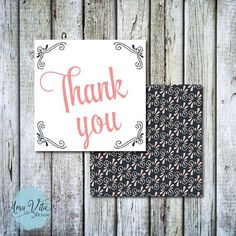INSTANT DOWNLOAD - Corner Flourish Pink and Navy Party Favor Square Thank You Tag #party #printable #diy #partyfavor