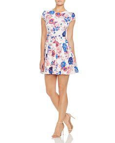 AQUA Diana Floral Cap Sleeve Dress
