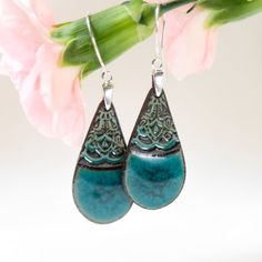 Turquoise dangle earrings Turquoise ceramic by ZuDesignJewelry