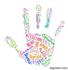 Great for the classroom with the students names. Super cool can be made into different shapes. tagxedo.com
