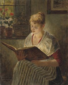 Walther Firle 'Reading by the Window' by Plum leaves (in), via Flickr